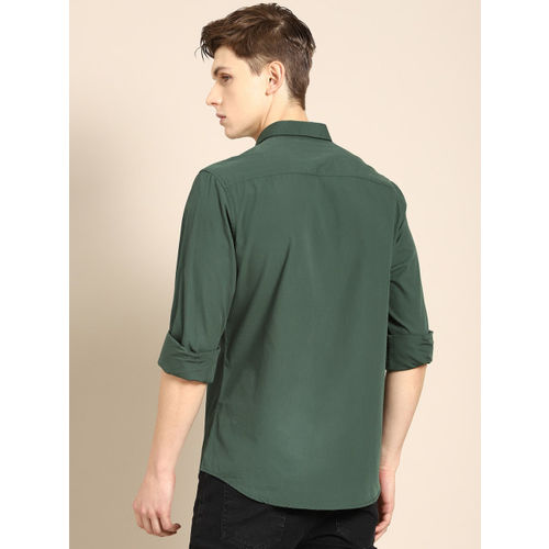 ether Men Green Regular Fit Solid Casual Shirt