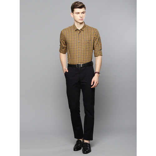 Louis Philippe Sport Men Yellow & Navy Blue Super Slim Fit Checked Smart Casual Shirt
