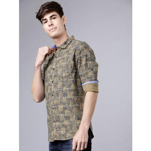 LOCOMOTIVE Men Khaki & Navy Blue Slim Fit Checked Casual Shirt