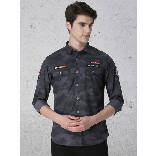 Ecko Unltd Black Slim Fit Camouflage Printed Casual Shirt