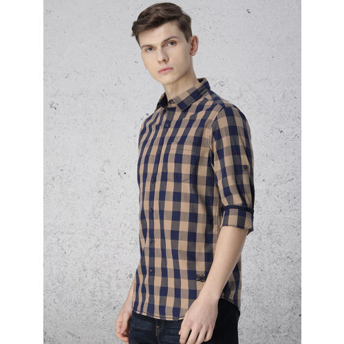 Ecko Unltd Men Beige & Navy Blue Slim Fit Checked Casual Shirt