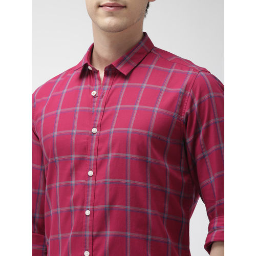 Mast & Harbour Red & Blue Checked Casual Shirt