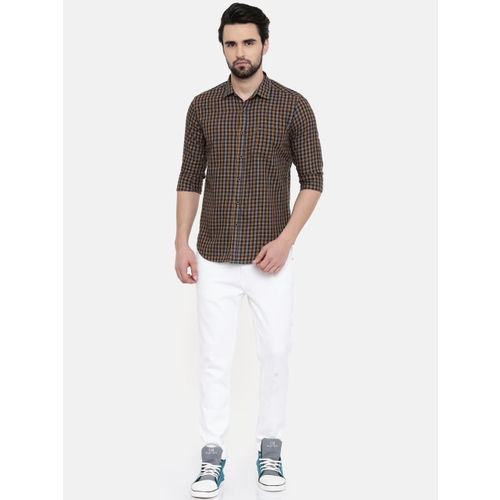 IMYOUNG Men Yellow & Grey Slim Fit Checked Casual Shirt