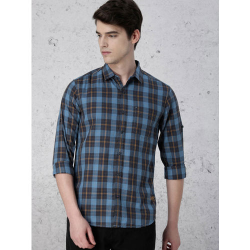 Ecko Unltd Men Blue & Olive Green Slim Fit Checked Casual Shirt