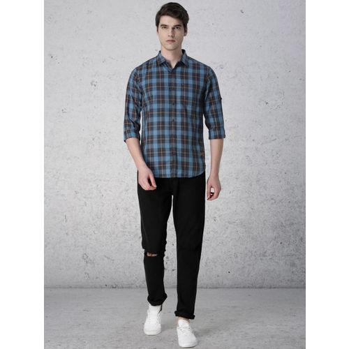 Ecko Unltd Men Blue & Olive Green Slim Fit Checked Casual Shirt