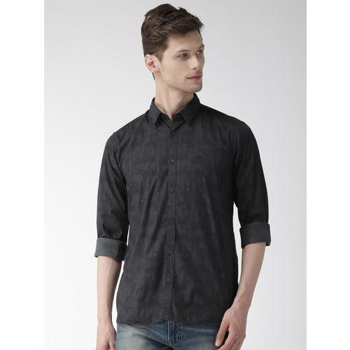 Park Avenue Men Black Slim Fit Printed Casual Shirt