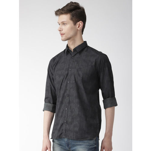 Park Avenue Men Black Slim Fit Printed Casual Shirt