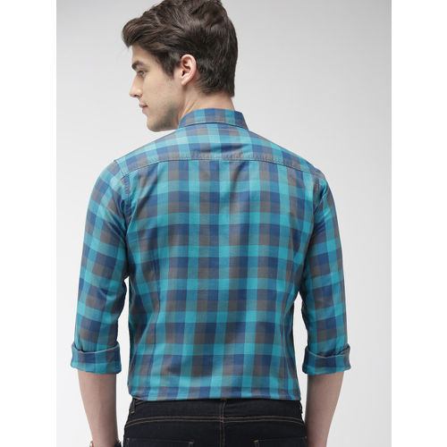 Mast & Harbour Men Turquoise Blue Regular Fit Checked Casual Shirt