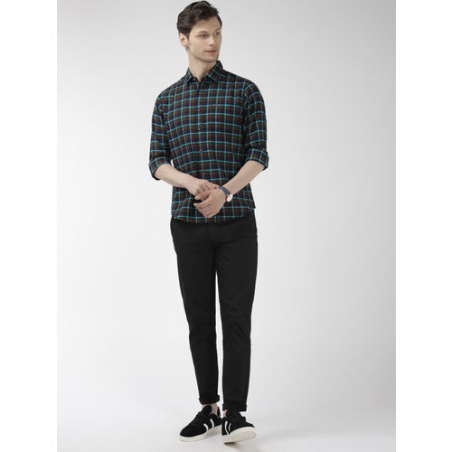 The Indian Garage Co Men Khaki & Navy Slim Fit Checked Casual Shirt