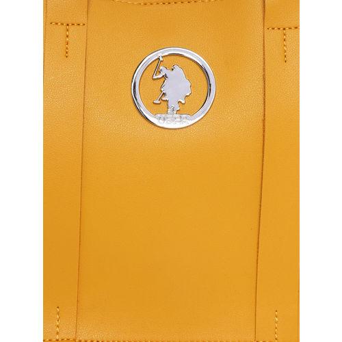 U.S. Polo Assn. Women Yellow Solid Handheld Bag