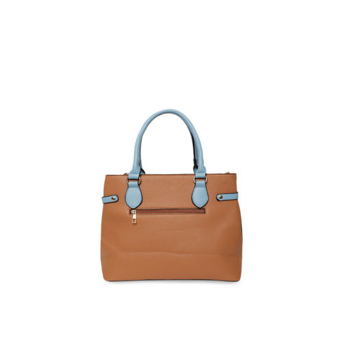 Kazo Tan Brown Colourblocked Handheld Bag
