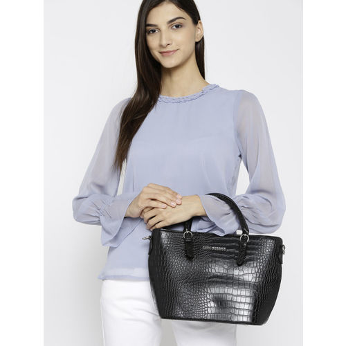 Lino Perros Black Croc-Textured Handheld Bag with Detachable Sling Strap