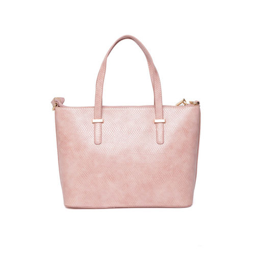 Lino Perros Pink Snakeskin Textured Handheld Bag with Detachable Sling Strap