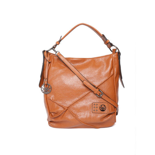United Colors of Benetton Tan Brown Textured Hobo Bag