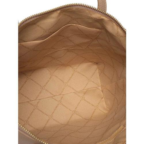 Lino Perros Beige Solid Shoulder Bag with Embroidered Detail