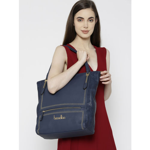 United Colors of Benetton Navy Blue Solid Shoulder Bag