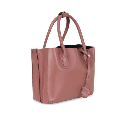 yelloe Peach-Coloured Solid Handheld Bag