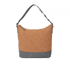 Accessorize Brown & Grey Solid Hobo Bag