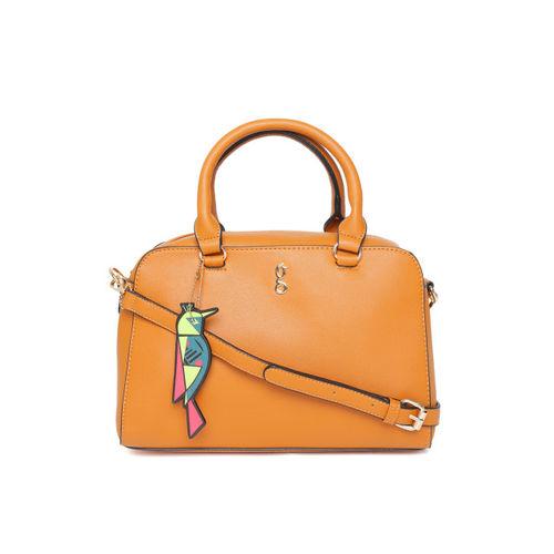 Global Desi Tan Brown Solid Handheld Bag