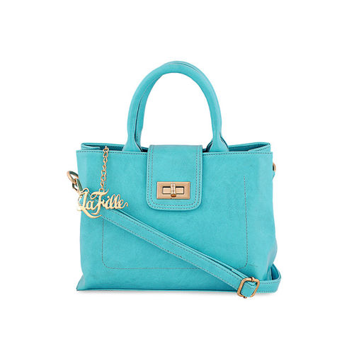 LaFille Turquoise Blue Solid Handheld Bag