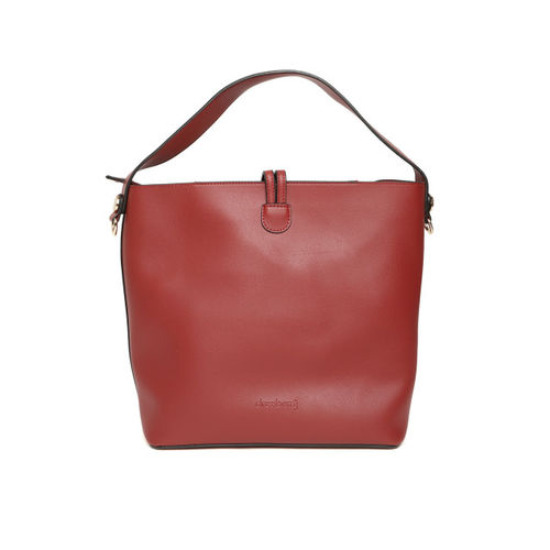 DressBerry Maroon Solid Shoulder Bag with Detachable Sling Strap & Pouch