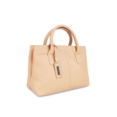 Toteteca Beige Solid Handheld Bag