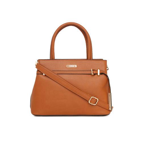 CERIZ Tan Solid Handheld Bag