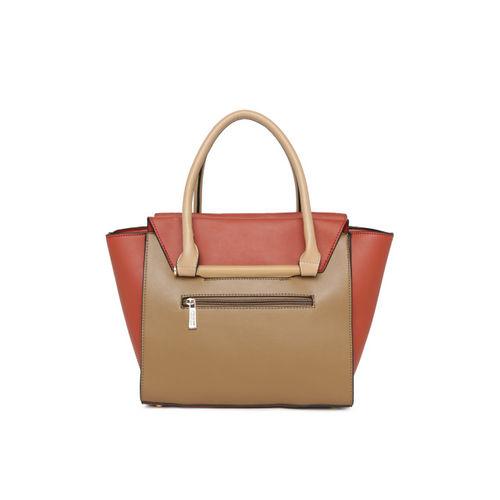 CERIZ Camel Brown & Red Colourblocked Handheld Bag