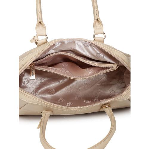 CERIZ Beige Solid Quilted Handheld Bag