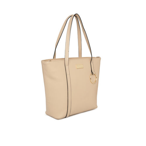 CERIZ Women Beige Solid Shoulder Bag