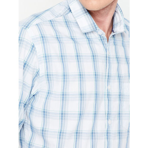 CODE by Lifestyle Men White & Blue Slim Fit Checked Casual Shirt