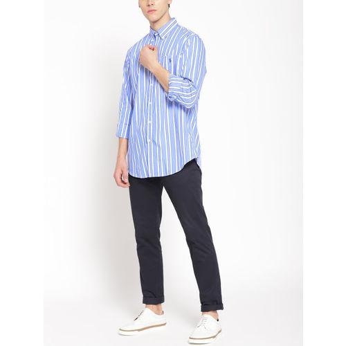 Polo Ralph Lauren Men White & Blue Regular Fit Striped Casual Shirt