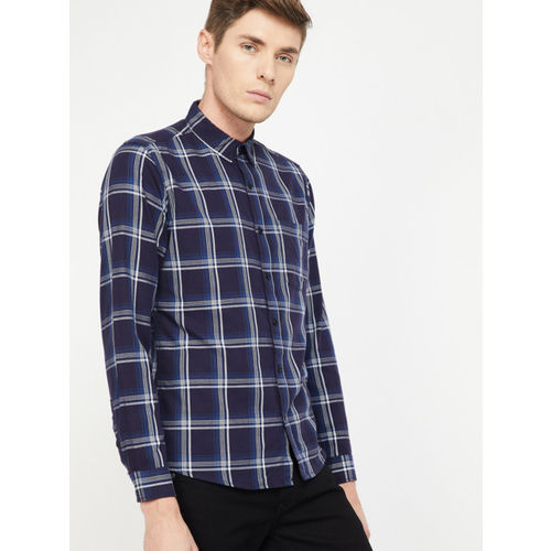 Forca Men Navy Blue & Grey Slim Fit Checked Casual Shirt