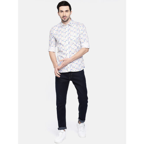 Parx Men White & Blue Slim Fit Printed Casual Shirt