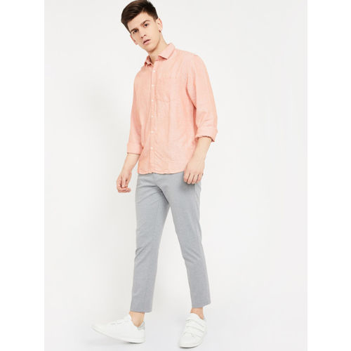 CODE by Lifestyle Men Orange Regular Fit Solid Casual Shirt