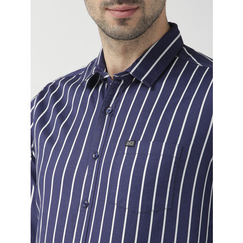 The Indian Garage Co Men Navy Blue & White Slim Fit Striped Casual Shirt