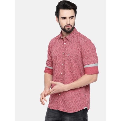 Parx Men Red & White Slim Fit Printed Casual Shirt