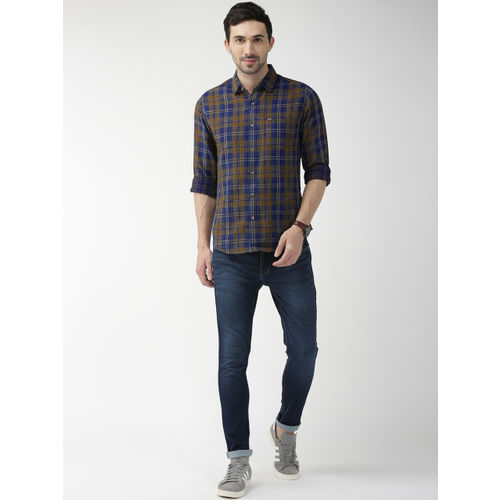 The Indian Garage Co Men Navy Blue & Khaki Brown Regular Fit Checked Casual Shirt