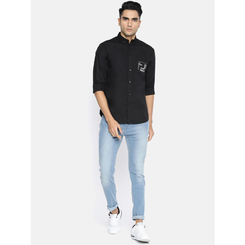 Jack & Jones Men Black Slim Fit Printed Casual Shirt
