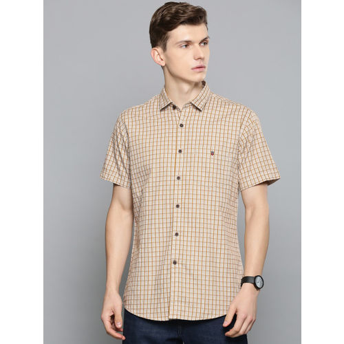 Louis Philippe Sport Men Off-White & Mustard Yellow Slim Fit Checked Casual Shirt