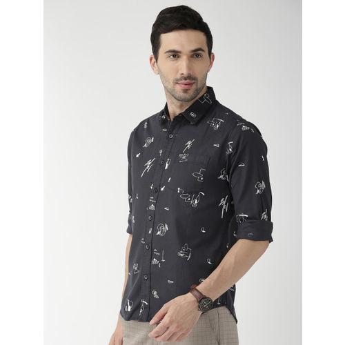 The Indian Garage Co Men Navy Blue & White Regular Fit Printed Casual Shirt