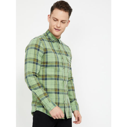 Forca Men Green & Brown Slim Fit Checked Casual Shirt
