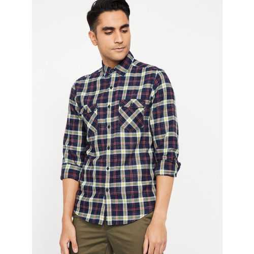 Forca Men Navy Blue & Red Slim Fit Checked Casual Shirt