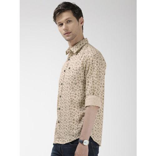The Indian Garage Co Men Beige Slim Fit Printed Casual Shirt