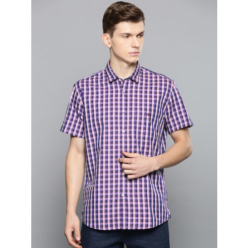 Louis Philippe Sport Men Blue & Pink Slim Fit Checked Casual Shirt