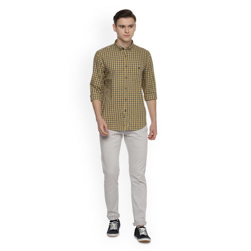 Louis Philippe Sport Men Yellow Slim Fit Checked Casual Shirt