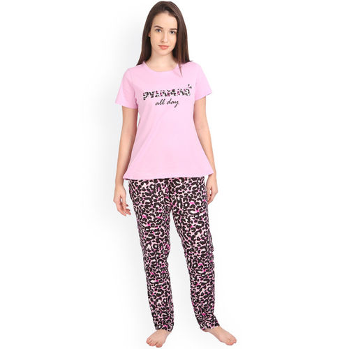Soie Pink & Black Animal Print Night Suit NT-37