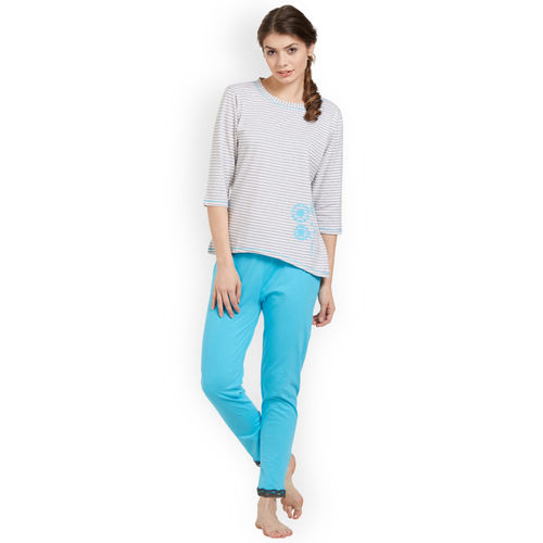 Soie Women Turquoise Blue & Grey Striped Night suit