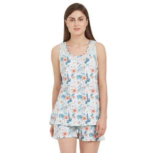 Soie Women Printed Light Blue Top & Shorts Set