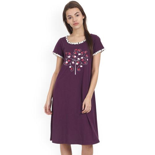 Soie Purple Printed Sleep Shirt NT-51